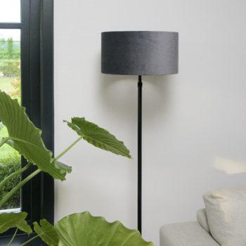 Cilinder lampenkap Blu Velours 35 cm.